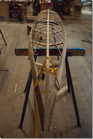 Keel strip, bow, and stern in place